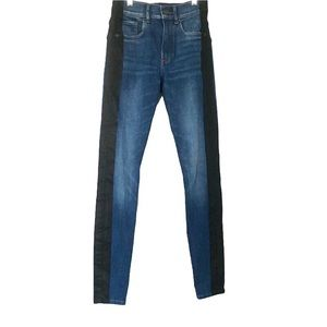 Express High Waisted Hyper Stretch Black Stripe Ankle Skinny Jeans